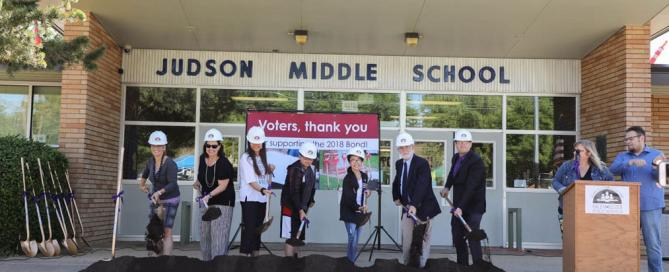 Supporters of the 2018 bond participating in the ceremonial turning of the dirt to celebrate the start of bond-funded construction!